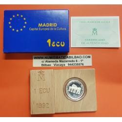 ESPAÑA 1 ECU 1992 PUERTA DE ALCALA MADRID CAPITAL EUROPEA DE LA CULTURA MONEDA DE PLATA PROOF ESTUCHE
