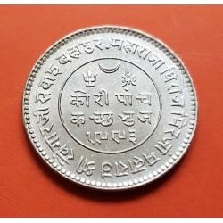 .INDIA 10 RUPIAS 1970 FLOR DE LOTO SILVER PLATA RUPEE