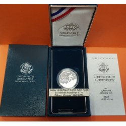 . ESTADOS UNIDOS $1 DOLAR 1991 P KOREAN WAR PLATA PROOF Dollar S