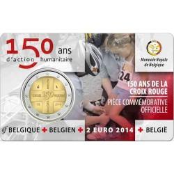 BELGICA 2 EUROS 2014 CRUZ ROJA 150 ANIVERSARIO SC @RARA@ MONEDA CONMEMORATIVA EN COINCARD Belgium