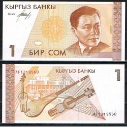 KIRIGUISTAN 1 SOM 1994 EX-PRESIDENTE y GUITARRAS Pick 7 BILLETE SC Kirguistan Kyrgyzstan UNC BANKNOTE