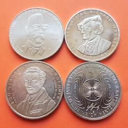 4 monedas x ALEMANIA 10 EUROS 2013 Letras D+F+G WAGNER+BUCHNER+HERTZ y ALEMANIA 10 EUROS 2015 A BISMARCK NICKEL SC