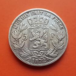 .BELGICA 5 FRANCOS 1873 LEOPOLD II PLATA Belgium Silver Francs