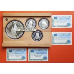 4 monedas x ESPAÑA CASA DE BORBON 2000 PESETAS 1997 + 10000 PESETAS 1997 BORBONES Serie 1ª PLATA CERTIFICADOS