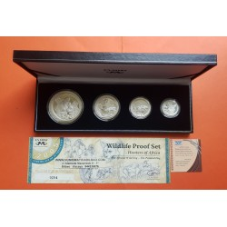 4 monedas x SUDAFRICA 5+10+20+50 CENTIMOS 2005 SOUTH AFRICA WILDLIFE PROOF SET HUNTERS PLATA 3,75 OZ @MUY RARAS@