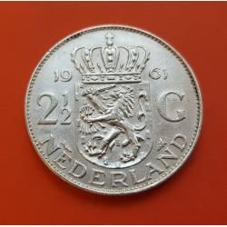 ..HOLANDA 2 1/2 GULDEN 1962 JULIANA PLATA SILVER SILBER KM*165