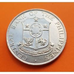 FILIPINAS 50 CENTAVOS 1964 DAMA CON YUNQUE y VOLCAN KM.190 MONEDA DE NICKEL SC Philippines 1/2 Peso