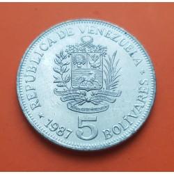 VENEZUELA 5 BOLIVARES 1987 LIBERTADOR SIMON BOLIVAR KM.53 MONEDA DE NICKEL SC-