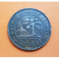 CANADA 1 CENTAVO 1871 PRINCE EDWARD ISLAND Reina VICTORIA y ARBOL KM.4 MONEDA DE COBRE MBC @ESCASA@