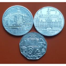3 monedas x AUSTRIA 5 EUROS 2002 ZOO + 10 EUROS 2002 MUSICOS + 10 EUROS 2002 KEPLER PLATA SC Österreich silver coin