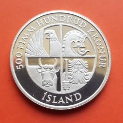 . ISLANDIA 500+1000 KRONUR 1974 PLATA 1100 ANIVERSARIO ICELAND S