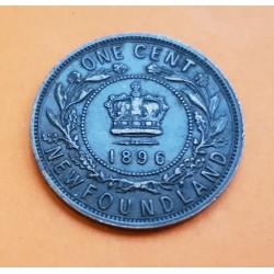 CANADA 1 CENTAVO 1896 NEWFOUNDLAND REINA VICTORIA KM.7 MONEDA DE BRONCE @ESCASA@ 1 Cent Large Penny NEW FOUNDLAND
