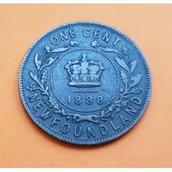 CANADA 1 CENTAVO 1888 NEWFOUNDLAND REINA VICTORIA KM.7 MONEDA DE BRONCE @ESCASA@ 1 Cent Large Penny NEW FOUNDLAND