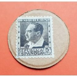 5 CENTIMOS 1937 MONEDA CARTON II REPUBLICA ESPAÑOLA GUERRA CIVIL BANDO REPUBLICANO 1936-1939 SELLO BLASCO IBAÑEZ