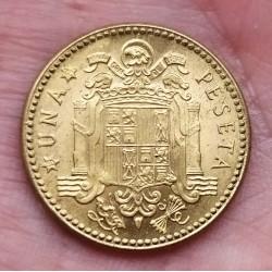 @MUY RARA NUEVA@ ESPAÑA 1 PESETA 1953 * 19 54 FRANCISCO FRANCO KM.775 MONEDA DE LATON SC Alguna Imperfección