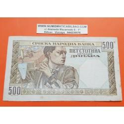 SERBIA 500 DINARA 1941 DAMA 2ª GUERRA MUNDIAL Pick 27B BILLETE MBC+ @MANCHITAS@ Ocupación Nazi WWII
