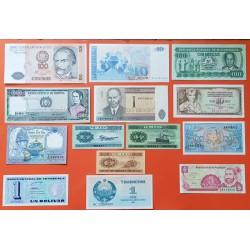 14 billetes x CHINA NEPAL PERU MOZAMBIQUE VENEZUELA ESTONIA BOLIVIA YUGOSLAVIA MACEDONIA... SC/SC-