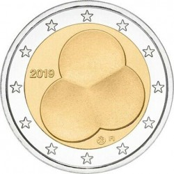 @EMISION 90.000 uds.@ FINLANDIA 2 EUROS 2019 LEY DE CONSTITUCION DE 1919 SC Moneda bimetálica y conmemorativa