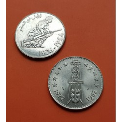 2 monedas x ARGELIA 5 DINARES 1972 TORRE KM.105 + 5 DINARES 1974 REVOLUCIONARIO CON FUSIL KM.108 NICKEL SC Algeria Algerie