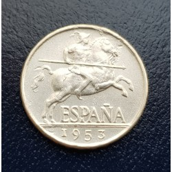 ESPAÑA 5 CENTIMOS 1953 JINETE IBERICO FRANCO KM.765 MONEDA DE ALUMINO @RARA@ SC- 3 Spain