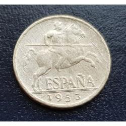 ESPAÑA 5 CENTIMOS 1953 JINETE IBERICO FRANCO KM.765 MONEDA DE ALUMINO @RARA@ MBC- 4 Spain