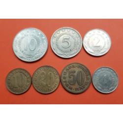 7 monedas x YUGOSLAVIA 10+20+50 PARA + 1+2+5+10 DINARA VARIOS AÑOS ESCUDO y VALOR LATON, NICKEL MBC +