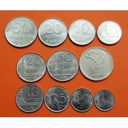 11 monedas X BRASIL 1+2+5+10+20+50 CENTAVOS y 1+5+10+20+50 CRUZEIROS 1975 / 1982 ACERO NICKEL EBC/SC