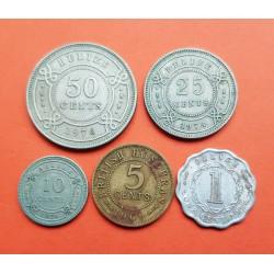 5 monedas x BELIZE 1+5+10+25+50 CENTAVOS 1969 / 1976 REINA ISABEL II VARIOS METALES MBC