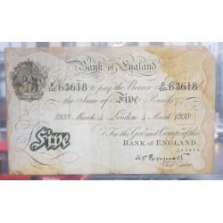 .OPERACION BERNHARD NAZI III REICH INGLATERRA 5 LIBRAS 1938 BANK OF ENGLAND Firma PEPPIATT Pick 335 @ESCASO@ UK 5 Pounds
