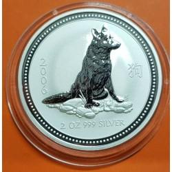 AUSTRALIA 2 DOLARES 2006 AÑO DEL PERRO 1ª SERIE LUNAR MONEDA DE PLATA $2 dollar silver 2 ONZAS OZ OUNCE YEAR OF THE DOG