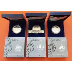 . ESPAÑA 10 EUROS x3 + 50€ 2006 CRISTOBAL COLON PLATA CERT FNMT