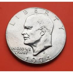 ESTADOS UNIDOS 1 DOLAR 1974 D EISENHOWER y AGUILA SOBRE LA LUNA KM.203 MONEDA DE NICKEL SC- USA $1 Dollar