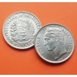 VENEZUELA 2 BOLIVARES 1990 LIBERTADOR SIMON BOLIVAR KM.43A1 MONEDA DE NICKEL CLAD STEEL SC-