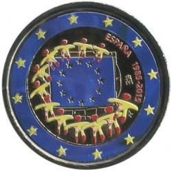 @MONEDA EN COLORES@ ESPAÑA 2 EUROS 2015 BANDERA EUROPEA 30 ANIVERSARIO SIN CIRCULAR CONMEMORATIVA + CAPSULA