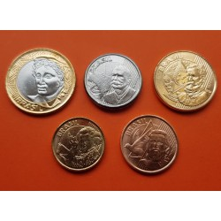 5 monedas x BRASIL 5+10+25+50 CENTAVOS 2018 + 1 REAL 2018 PERSONAJES COBRE, LATON, BIMETALICA... SC