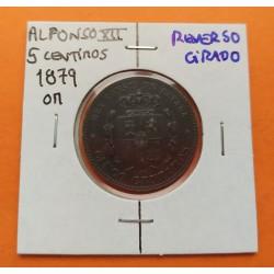 @REVERSO 20º GIRADO@ ESPAÑA Rey ALFONSO XII 5 CENTIMOS 1879 OM REY y ESCUDO KM.674 MONEDA DE BRONCE EBC- Spain
