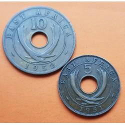 2 monedas x AFRICA DEL ESTE 5 CENTIMOS 1951 H KM.33 + 10 CENTIMOS 1952 CUERNOS DE ELEFANTE KM.34 BRONCE MBC/EBC