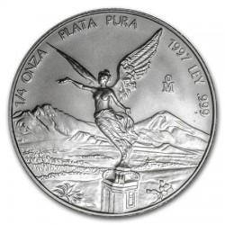 MEXICO 1 ONZA 1997 ANGEL LIBERTAD MONEDA DE PLATA PURA 999 SC Mejico Silver coin OZ OUNCE @RARA@