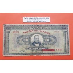 GRECIA 1000 DRACMAS 1926 TEMPLO y PRESIDENTE Pick 100B BILLETE MUY CIRCULADO Greece 1000 Drachma SOBREIMPRESION ROJA