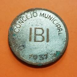 CONSEJO MUNICIPAL DE IBI 1 PESETA 1937 VALOR KM.2 COBRE NIQUELADO ESPAÑA MONEDA LOCAL GUERRA CIVIL