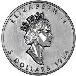 CANADA 5 DOLARES 1994 HOJA DE ARCE PLATA PURA SC SILVER DOLLAR