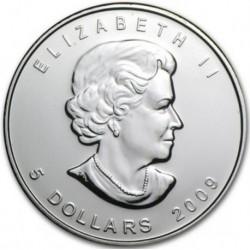 CANADA 5 DOLARES 2009 HOJA DE ARCE PLATA PURA SC SILVER DOLLAR