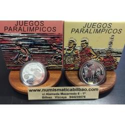 2 monedas x ESPAÑA 1000 PESETAS 2000 JUEGOS PARALIMPICOS DE SIDNEY ATLETISMO CIEGOS y SILLA DE RUEDAS PLATA ESTUCHE CERTIFICADO