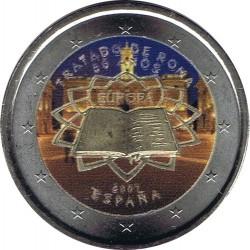 . ESPAÑA 2 EUROS EN COLOR 2007 TRATADO DE ROMA SIN CIRCULAR