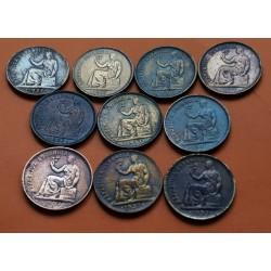 1 moneda x ESPAÑA 50 CENTIMOS 1937 II REPUBLICA ESPAÑOLA DAMA SENTADA MONEDA DE COBRE MBC- DEFECTOS