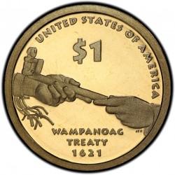 ESTADOS UNIDOS 1 DOLAR 2011 S INDIA SACAGAWEA MONEDA DE LATON @PROOF - PATINA IRISADA@ US $1 DOLLAR COIN