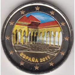 @MONEDA EN COLORES@ ESPAÑA 2 EUROS 2011 LA ALHAMBRA EN GRANADA SIN CIRCULAR CAPSULA