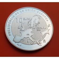 10 EUROS 2002 PRESIDENCIA DE LA UNION EUROPEA MONEDA DE PLATA PROOF NO ESTUCHE FNMT España