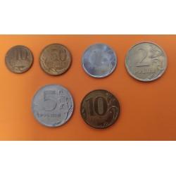 6 MONEDAS X RUSIA 10+50 KOPECKS + 1+2+5+10 RUBLOS DIFERENTE FECHA Y METALES coins Russia Russland