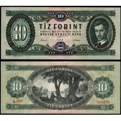 HUNGRIA 10 FORINT 1962 PETOFI SANDOR Color VERDE Pick 168C BILLETE SC Hungary UNC BANKNOTE
